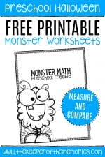 Free Printable Comparing Monsters Halloween Preschool Worksheets