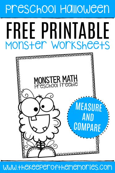 Free Printable Comparing Monsters Halloween Preschool Worksheets with text: Preschool Halloween Free Printable Monster Worksheets MEASURE AND COMPARE