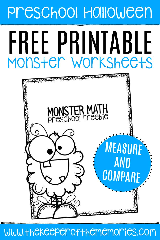 Free Printable Comparing Monsters Halloween Preschool Worksheets