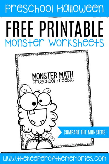 Free Printable Comparing Monsters Halloween Worksheets with text: Preschool Halloween Free Printable Monster Worksheets COMPARE THE MONSTERS!