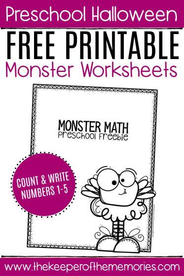 Free Printable Count the Monsters Halloween Preschool Worksheets 2
