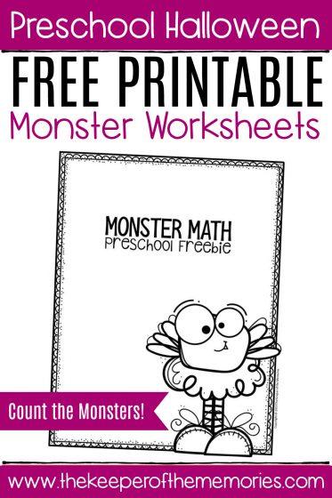 Free Printable Count the Monsters Halloween Preschool Worksheets