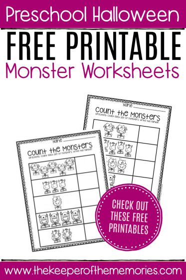 Free Printable Count the Monsters Halloween Worksheets with text: Preschool Halloween Free Printable Monster Worksheets CHECK OUT THESE FREE PRINTABLES