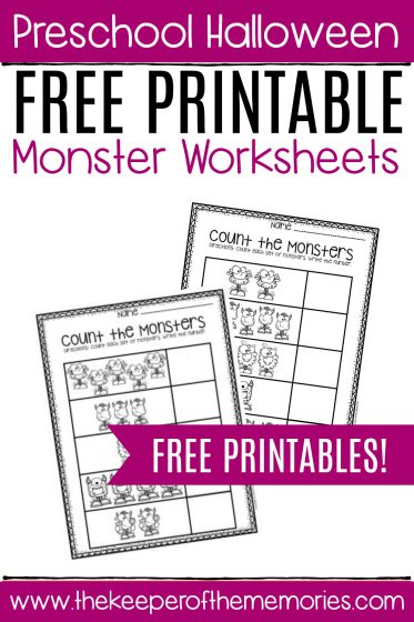Free Printable Count the Monsters Preschool Worksheets with text: Preschool Halloween Free Printable Monster Worksheets FREE PRINTABLES!