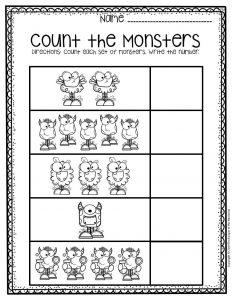 Free Printable Monster Counting Halloween Preschool Worksheets 1