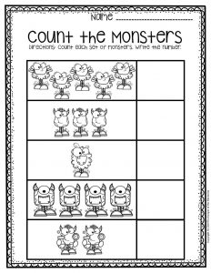 Free Printable Monster Counting Halloween Preschool Worksheets 2