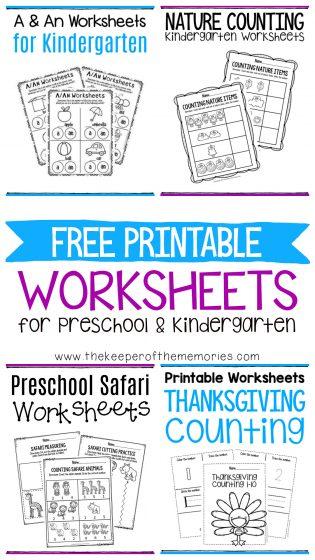 Free Printable Worksheets for Preschool & Kindergarten