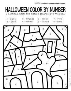 Haunted House Color by Number Halloween Preschool Worksheets