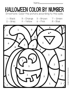 Jack o Lantern Color by Number Halloween Preschool Worksheets