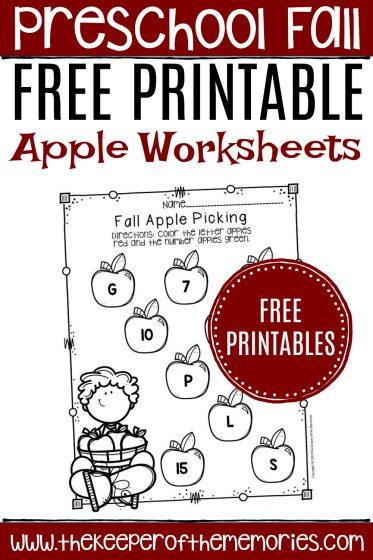 Kindergarten Apple Worksheets