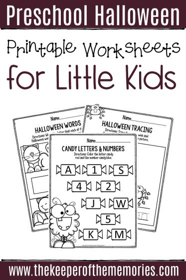 Literacy Halloween Preschool Worksheets with text: Preschool Halloween Printable Worksheets for Little Kids