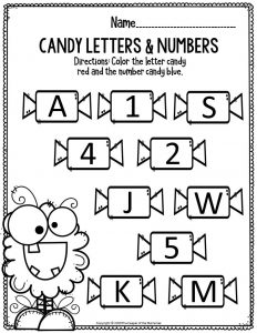 Literacy Halloween Preschool Worksheets Candy Letters & Numbers