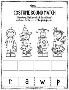 Literacy Halloween Preschool Worksheets Costume Sound Match