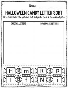 Literacy Halloween Preschool Worksheets Halloween Candy Letter Sort