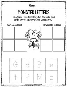 Literacy Halloween Preschool Worksheets Monster Letters