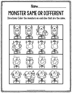 Literacy Halloween Preschool Worksheets Monster Same Or Different