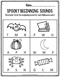Literacy Halloween Preschool Worksheets Spooky Beginning Sounds
