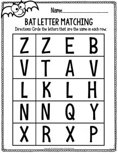 Literacy Halloween Preschool Workshets Bat Letter Matching