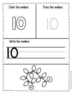 Numbers Christmas Preschool Worksheets 10