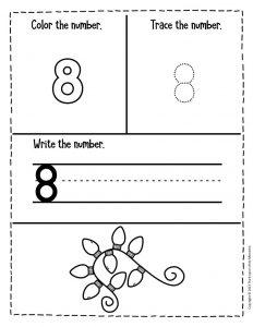 Numbers Christmas Preschool Worksheets 8