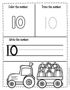 Numbers Fall Preschool Worksheets 10
