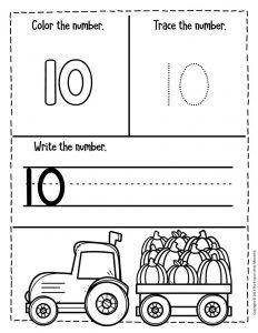 Numbers Fall Preschool Worksheets 10