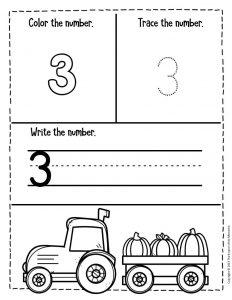 Numbers Fall Preschool Worksheets 3