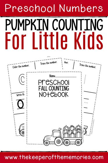 Numbers Fall Preschool Worksheets with text: Preschool Numbers Pumpkin Counting for Little Kids