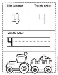 Numbers Fall Preschool Worksheets 4
