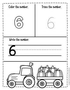 Numbers Fall Preschool Worksheets 6