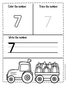 Numbers Fall Preschool Worksheets 7