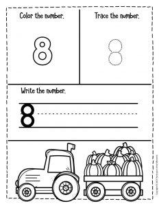 Numbers Fall Preschool Worksheets 8