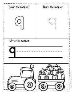 Numbers Fall Preschool Worksheets 9