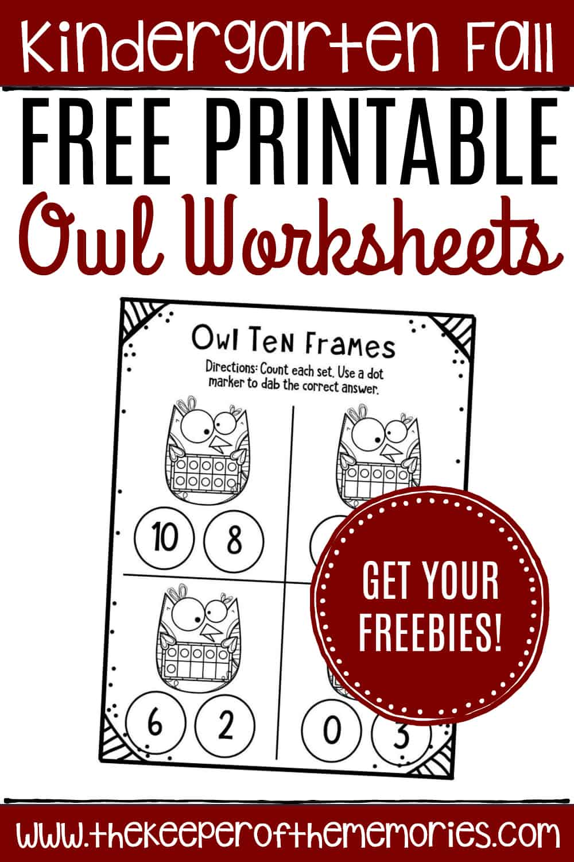 Free Printable Owl Ten Frame Worksheets