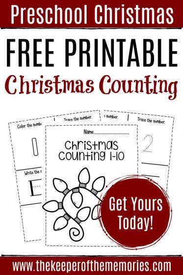 Free Printable Christmas Counting Preschool Worksheets with text: Preschool Christmas Free Printable Christmas Counting Get Yours Today!