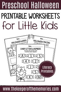 Printable Literacy Halloween Preschool Worksheets