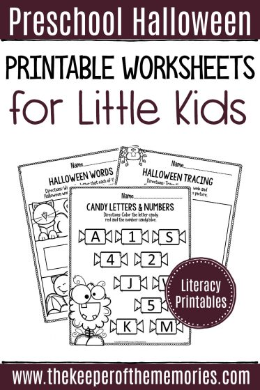 Preschool Halloween Printable Worksheets Literacy