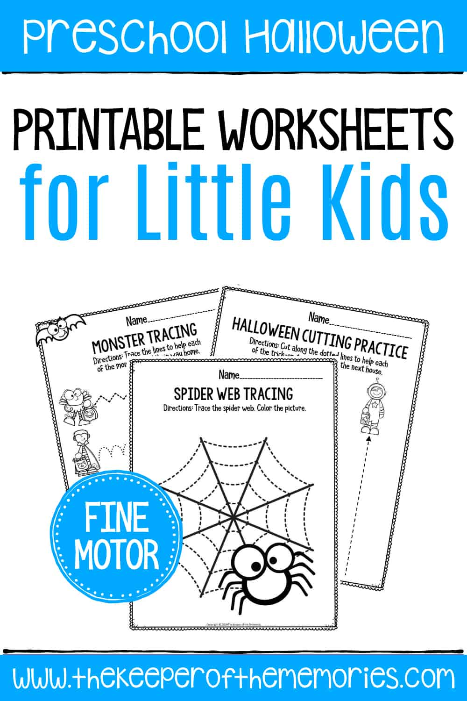 Printable Fine Motor Halloween Preschool Worksheets