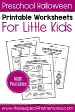 Printable Math Halloween Preschool Worksheets