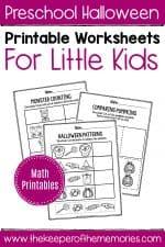 Printable Math Halloween Preschool Worksheets