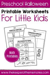 Preschool Worksheets Halloween Math