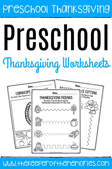 Printable Fine Motor Thanksgiving Preschool Worksheets with text: Preschool Thanksgiving Preschool Thanksgiving Worksheets