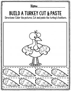 Printable Fine Motor Thanksgiving Preschool Worksheets Build A Turkey Cut & Paste