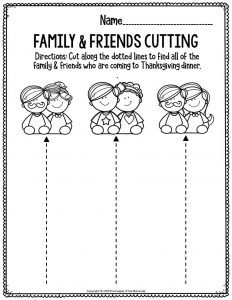 Printable Fine Motor Thanksgiving Preschool Worksheets Family & Friends Cutting