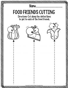 Printable Fine Motor Thanksgiving Preschool Worksheets Food Friends Cutting