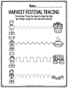Printable Fine Motor Thanksgiving Preschool Worksheets Harvest Festival Tracing