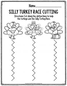 Printable Fine Motor Thanksgiving Preschool Worksheets Silly Turkey Race Cutting