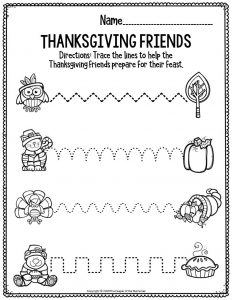 Printable Fine Motor Thanksgiving Preschool Worksheets Thanksgiving Friends