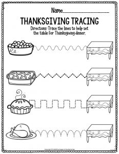 Printable Fine Motor Thanksgiving Preschool Worksheets Thanksgiving Tracing