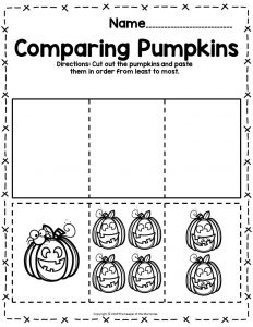Pumpkin Math Halloween Preschool Worksheets Comparing Pumpkins